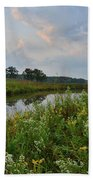 Sunrise Clouds Above Glacial Park's Nippersink Creek Bath Towel