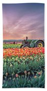 Sunrise, Hot Air Balloon And Moon Over The Tulip Field Hand Towel