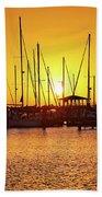 Sunrise Over Long Beach Harbor - Mississippi - Boats Hand Towel