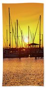Sunrise Over Long Beach Harbor - Mississippi - Boats Bath Towel