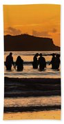 Sunrise Seascape With People Silhouettes Hand Towel