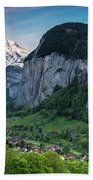 Sunset Above The Lauterbrunnen Valley Hand Towel by James Udall