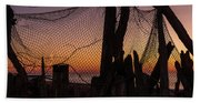 Sunset And Fishing Net Cape May New Jersey Bath Towel