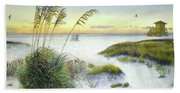 Sunset And Sea Oats At Siesta Key Public Beach Hand Towel