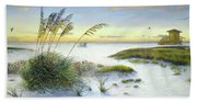 Sunset And Sea Oats At Siesta Key Public Beach -wide Bath Towel