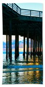 Sunset At Pismo Beach Pier Bath Towel