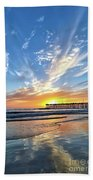 Sunset At The Pismo Beach Pier Bath Towel
