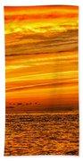 Sunset At The Ss Atlantus - Pano Bath Towel