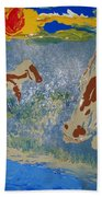 Sunset At The Watering Hole Bath Towel