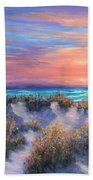 Sunset Beach Painting With Walking Path And Sand Dunesand Blue Waves Bath Towel