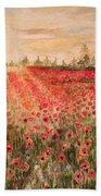 Sunset By The Poppy Fields Bath Towel