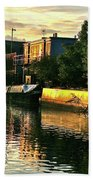 Sunset Canal Reflections Bath Towel