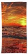 Sunset Ocean Dance Bath Towel by Harry Warrick