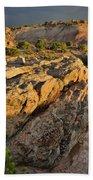 Sunset On Boulders Of Bentonite Site On Little Park Road Bath Towel