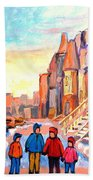 Sunset On Hotel De Ville Street Montreal Bath Towel
