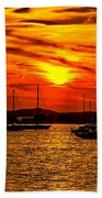 Sunset On Muskegon Lake Bath Towel