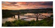 Sunset On Ohio River  Bath Towel