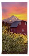 Sunset Over Mt Hood And Red Barn Bath Towel