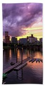Sunset Over Portland Oregon Downtown Waterfront Bath Towel