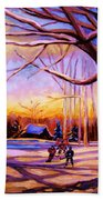 Sunset Over The Hockey Game Bath Towel