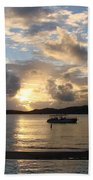 Sunset Over The Inifinity Pool At Frenchman's Cove In St. Thomas Bath Towel