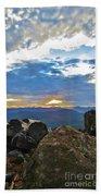Sunset Over The Mountain Range Bath Towel