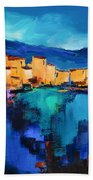Sunset Over The Village 3 By Elise Palmigiani Bath Towel