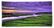 Sunset Over Turners Creek Savannah Tybee Island Ga Bath Towel
