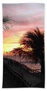 Sunset Palms At Sharky's On The Pier Bath Towel