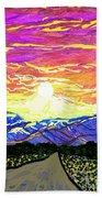 Sunset Pearblossom Highway Bath Towel
