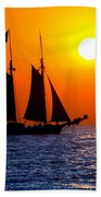 Sunset Sailing In Key West Florida Bath Towel