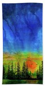 Sunset Silhouette With Canada Geese Bath Towel