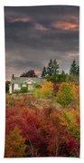 Sunset Sky Over Farm House In Rural Oregon Bath Towel