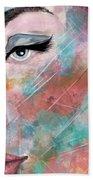 Sunset - Woman Abstract Art Hand Towel