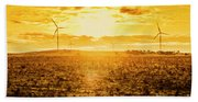 Sunsets And Golden Turbines Bath Towel