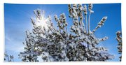Sunshine Through Snow Covered Tree Bath Towel