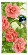 Superb Wren And Camellia Hand Towel