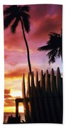 Surfboard Sunset Bath Towel