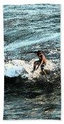Surfer On Wave Bath Towel