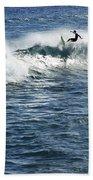 Surfer Riding A Wave Bath Towel