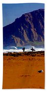 Surfers On Morro Rock Beach Bath Towel