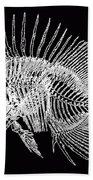Surgeonfish Skeleton In Silver On Black  Bath Towel