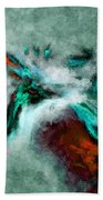Surrealist And Abstract Painting In Orange And Turquoise Color Bath Towel