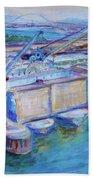 Swan Island Poetry - Large Original Contempory Impressionist Painting Bath Towel
