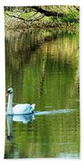 Swan On The Cong River Cong Ireland Bath Towel