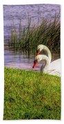 Swan Pair Warm Color Bath Towel
