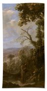 Swanevelt, Herman Van Woerden, 1603 - Paris, 1655 Landscape With Hermit Bound In Chains 1634 - 1639. Bath Towel