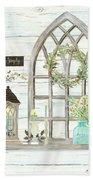 Sweet Life Farmhouse 3 Gothic Window Lantern Floral Shiplap Wood Bath Towel