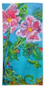 Sweet Pea Flowers On A Vine Bath Towel