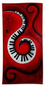Swirling Piano Keys- Music In Motion Bath Towel
